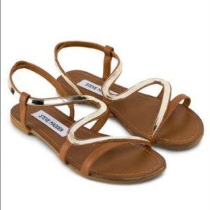 Steve Madden Baden Gold/Brown Leather Sandals